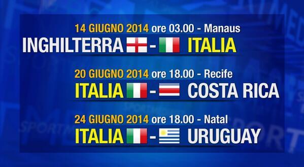 Mondiali 2014 Italia, calendario e orario partite del girone