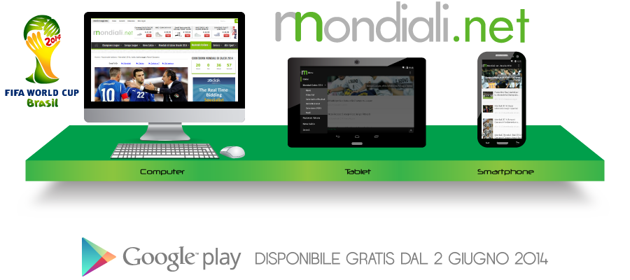 Mondiali di Calcio Brasile 2014: ecco l'app Android gratis di Mondiali.net (download)