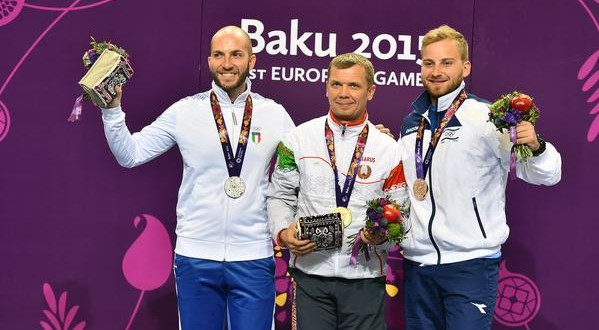 Baku 2015, Campriani d'argento nel tiro a segno