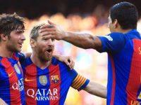 Sergi Roberto-Messi-Suarez Barcellona-Betis Liga, foto Afp
