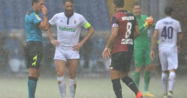 Diluvia sulla Serie A: rinviata Genoa-Fiorentina, ripresa dopo più di un'ora Roma-Sampdoria