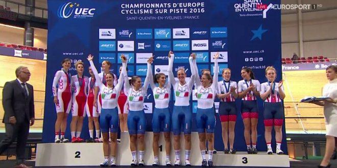 Europei pista 2016, 2^ giornata: Italia, quartetto donne d'oro e uomini d'argento