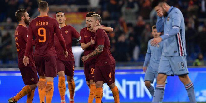 Coppa Italia, Roma-Sampdoria 4-0: doppio Nainggolan e…ora Cesena