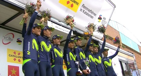 Giro della Catalogna 2017, alla Movistar la cronosquadre di Banyoles