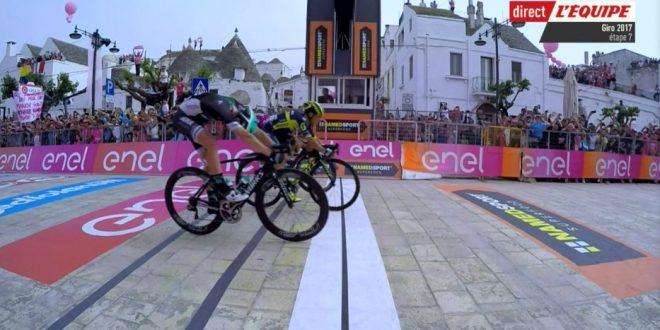 Giro d'Italia 2017, Ewan trullo volante: battuto Gaviria ad Alberobello