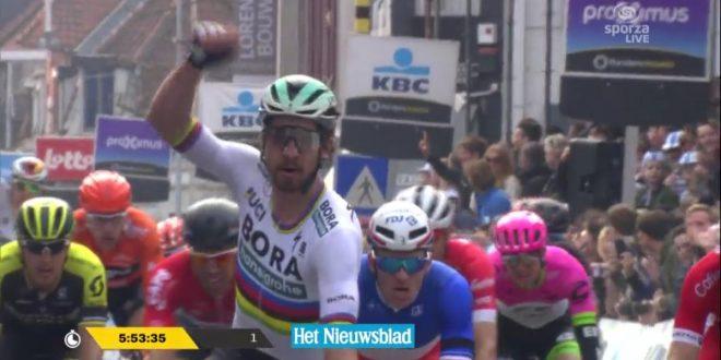 Gand Wevelgem 2018, Peter Sagan fa tris: battuto Elia Viviani