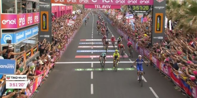 Giro d'Italia 2018, Viviani non sbaglia a Tel Aviv. Dennis in rosa