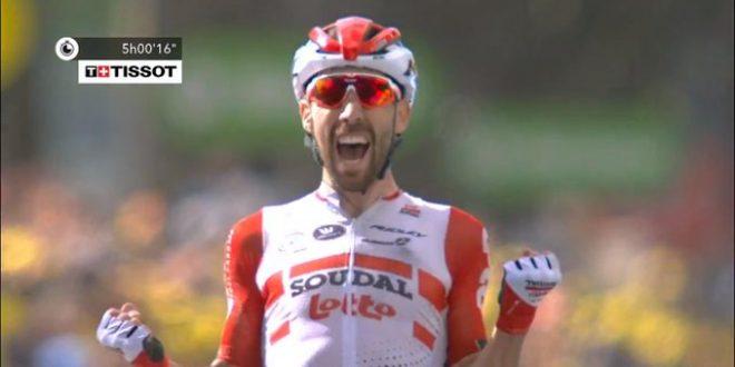 Tour de France 2019, assolo De Gendt a Saint-Etienne. Alaphilippe si riprende la gialla