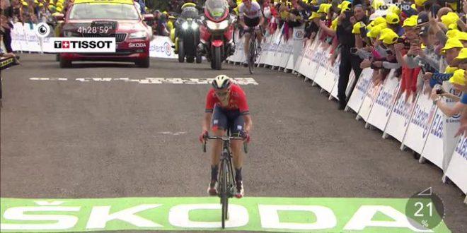 Tour de France 2019, Ciccone in giallo a La Planche des belles filles. Vince Teuns