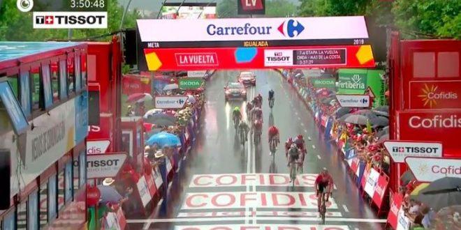 Vuelta a Espana 2019, spunto Arndt a Igualada. Edet in rosso