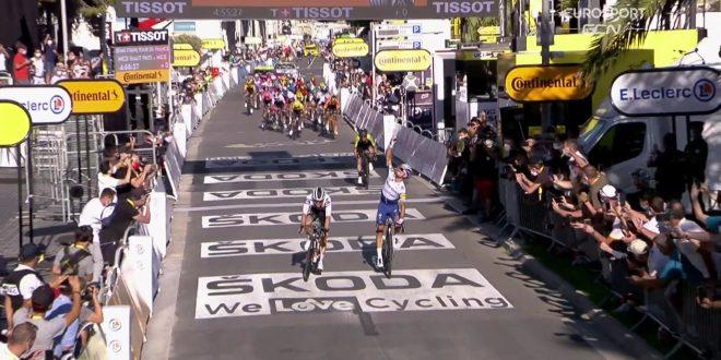 Tour de France 2020, Alaphilippe festeggia a Nizza